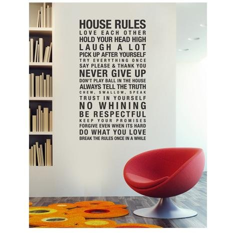 FANGLEE House Rules Love Each Other Quote Wall Decal Removable Wall Stickers for Home Decor