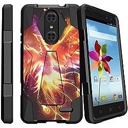 ZTE Grand X4 Black Case, Grand X4 Case, Z959 Hard Shell Case [SHOCK FUSION] Dual Layer Kickstand Case with Designs by MINITURTLE - Phoenix Bird Stars