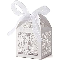 White Love Birds Laser Cut Favor Candy Box Bomboniere with Ribbons Bridal Shower Wedding Party Favors 50 Pack