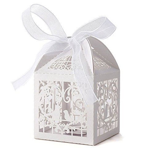 White Love Birds Laser Cut Favor Candy Box Bomboniere with Ribbons Bridal Shower Wedding Party Favors 50 (Love Birds Bridal)