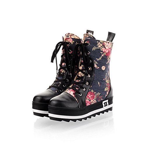 Out B Round Solid M Bandage 5 PU AmoonyFashion PU Hollow Frost Blackblue Closed and Womens Boots Toe US Heels 7 with kitten HCZfwxq