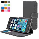 iPhone 5/5S Case, Snugg - Grey Leather iPhone 5/5S Flip Case [Lifetime Guarantee] Premium Wallet Phone Cover with Card Slots for Apple iPhone 5/5S