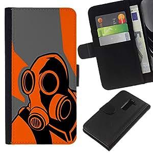 // PHONE CASE GIFT // Moda Estuche Funda de Cuero Billetera Tarjeta de crédito dinero bolsa Cubierta de proteccion Caso LG G2 D800 / Orange Psycho - B0Rderlands Game /