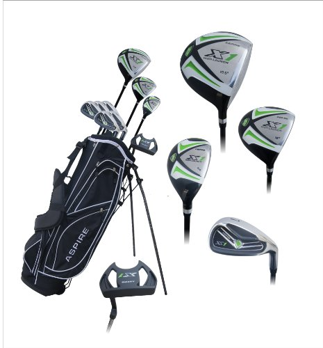 Aspire X1 Men's Complete Golf Set Includes Titanium Driver, S.S. Fairway, S.S. Hybrid, S.S. 6-PW Irons, Putter, Stand Bag, 3 H/C's Right Hand