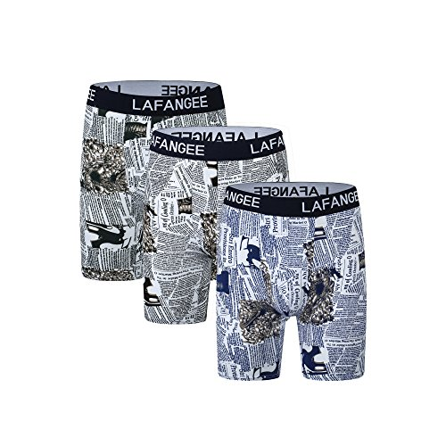 Lafangee Mens Boxer Briefs Printed Soft Cotton Underwear with Elastic Waistband (3-Pack) Printed Cotton Boxer