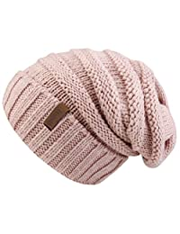 Soft Solid Ribbed Stretch Cable Knit Faux Fur Pom Pom Beanie Hat