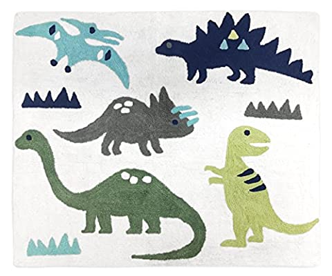 Girl or Boy Accent Floor Rug Bedroom Decor for Blue and Green Modern Dinosaur Kids Bedding (Blue And Green Bedroom Rugs)