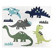 Sweet JoJo Designs Girl or Boy Accent Floor Rug Bedroom Decor for Blue and Green Modern Dinosaur Kids Bedding Collection