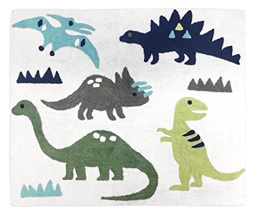 (Sweet Jojo Designs Girl or Boy Accent Floor Rug Bedroom Decor for Blue and Green Modern Dinosaur Kids Bedding Collection )