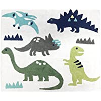Sweet JoJo Designs Girl or Boy Accent Floor Rug Bedroom Decor for Blue and Green Modern Dinosaur Kids Bedding Collection