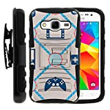 TurtleArmor | Compatible for Samsung Galaxy Core Prime Case | Prevail | Win 2 [Hyper Shock] Armor Rugged Hybrid Cover Impact Rubber Protector Belt Clip Gaming Design - Blue Controllers