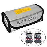 Fireproof Explosionproof Lipo Battery Safe Bag(7.28″x3.3″x2.5″) with 2 Packs of LiPo Voltage Checker + Warning Buzzer