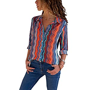 Button Down Blouses and Shirts for Women Color Block Stripes Casual Blouse Ladies Tops Red22 M