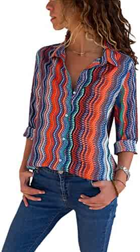 37f8bcf42 Dokotoo Womens V Neck Button up Color Block Stripes Blouse Casual Tops