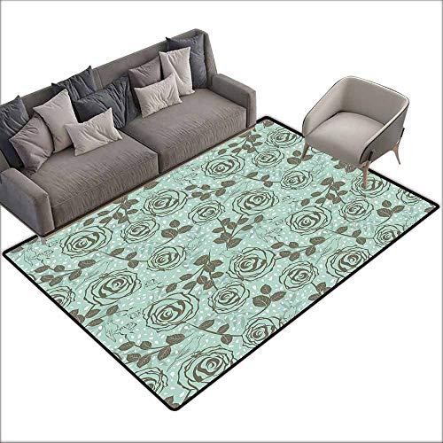 Cute Design Anti-Slip Floor MAT Colorful Floral,Romantic Season Inspirations with Roses Birds on Tree Branches Summer Design,Seafoam Sage Green 60