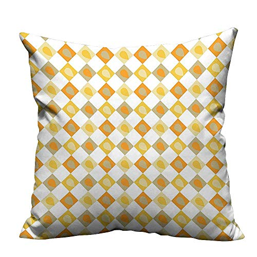 Home DecorCushion Covers Stylized Forms with Disc Shaped Rounds and Color Bands Design Earth Yellow Beige Comfortable and Breathable(Double-Sided Printing) 35x35 inch