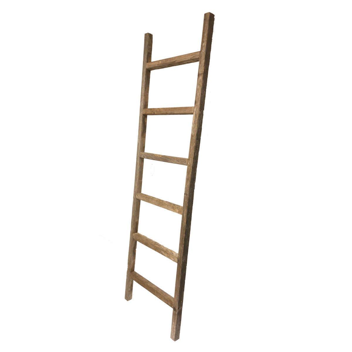 BarnwoodUSA Rustic 6 ft Wide Decorative Ladder - 100% Reclaimed Wood Ladder, Weathered Gray ♻️ by BarnwoodUSA