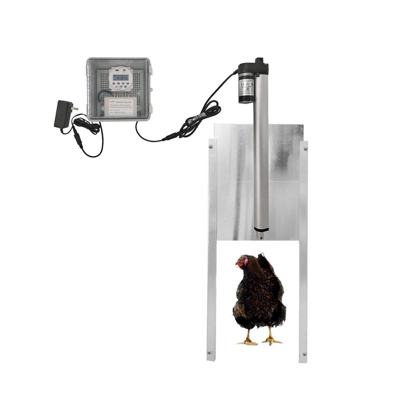 JVR Automatic Chicken Coop Door Opener Kit, Waterproof Outdoor Timer Controller Actuator Motor, 12V DC/Solar Battery Power (Timing)