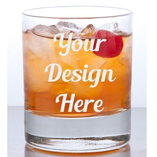 11 oz Custom Rocks Glass - Glass Etched Personalized Whiskey Glass - Single Sided Bourbon or Old Fashioned Glass