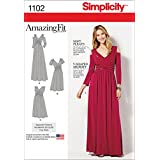 SIMPLICITY Patterns 1102 Misses and Plus Size Amazing Fit Dress in Knit, BB (20W-28W)