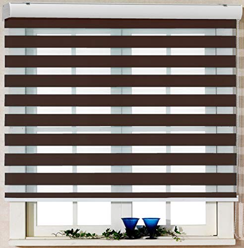 Foiresoft Custom Cut to Size, [Winsharp Basic, Mocha,W 33 x H 103 inch] Zebra Roller Blinds, Dual Layer Shades, Sheer or Privacy Light Control, Day and Night Window Drapes, 20 - Horizontal Sheer Shades