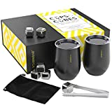Whiskey Stones and Stainless Steel Tumblers Box Set - 2, 12 Ounce Black Insulated Tumblers with Lids, 6 Stainless Reusable Ice Cubes, Bar Sets, Whiskey Sets