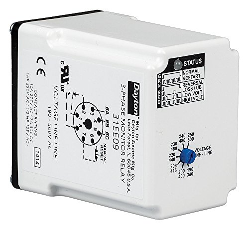 (3 Phase Monitor Relay, SPDT, 500VAC, 8 Pin)