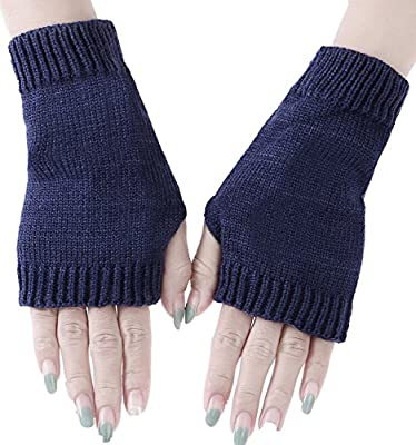 Womens Knit Mittens Warm Ladies Gloves Winter Fingerless Glove Hand Arm Warmers