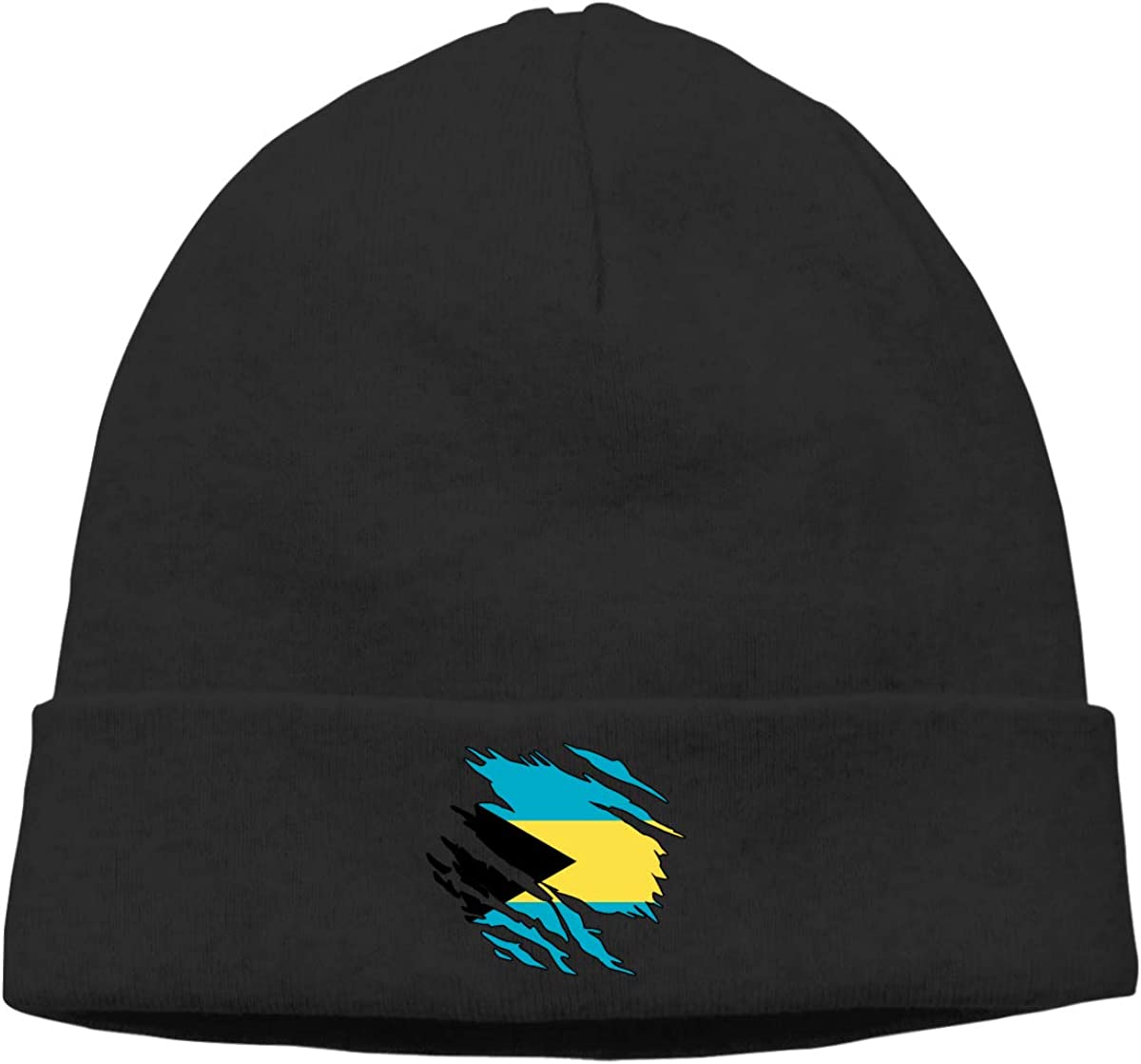 Stretchy /& Soft Winter Cap Thin Ripped Bahamas Flag Unisex Solid Color Beanie Hat