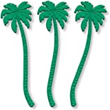 Royer 7 Inch Transparent Green Plastic Palm Tree Swizzle Sticks, Set of 24 - Made In USA
