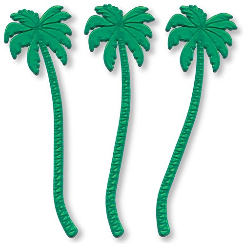 Royer 7 Inch Transparent Green Palm Tree Swizzle Sticks, Set of 24 - Made In USA (Swizzle Stick Set)