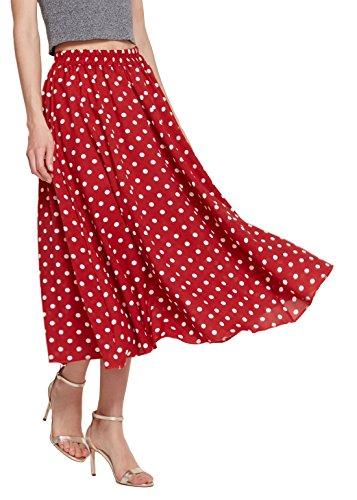 Chartou Women's Casual Contrast Polka Dot Chiffon Bohemia Swing Beach Midi A-Line Skirts (Red, Large)