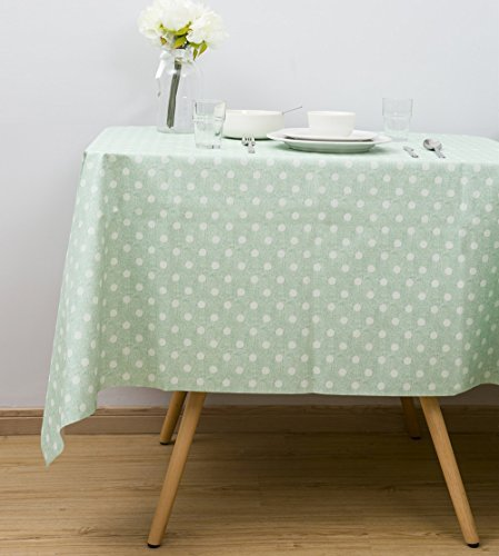 LEEVAN Heavy Weight Vinyl Rectangle Table Cover Wipe Clean PVC Tablecloth Oil-proof/Waterproof Stain-resistant/Mildew-proof (54'' x 108''-140x275 cm, Teal Polka Dot)