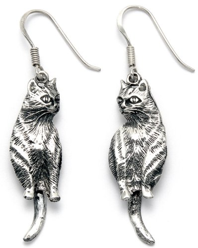 Lightweight Sterling Silver Cat Wire Earrings w/Movable Tail