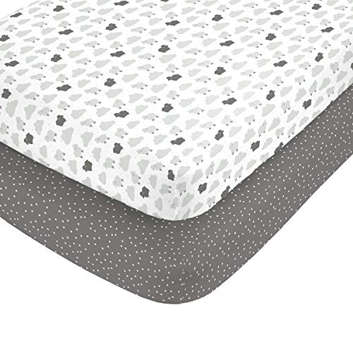 (Carter's 100% Cotton Sateen 2 Piece Fitted Crib Sheets Grey Sheep with Clouds and Grey, White Stripes/Grey/Black/White)
