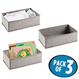 mDesign Soft Fabric Dresser Drawer and Closet Storage Organizer Set for Child/Baby Room, Nursery, Playroom, Bedroom - Rectangular Organizer Bins with Textured Print, 3 Pack - Gray