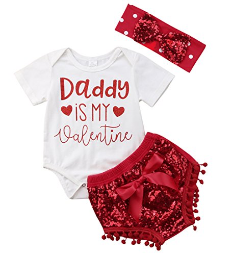 Canis Baby Girls Father's Day Daddy is My Valentine Bodyusit and Sequin Pompom Shorts Outfit Set with Headband (0-6M, Red)
