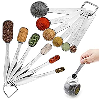 Set of 12, Heavy Duty Stainless Steel Metal Measuring Spoons, findTop Rounded & Rectangle Measuring Spoons for Dry or Liquid