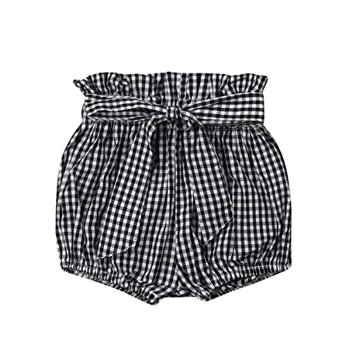 - Toddler Baby Girl Shorts Elastic Waist Bowknot Waistband Bloomers Floral Gingham Polka Dots Pants Clothes Set (Black Gingham, 3-4T)