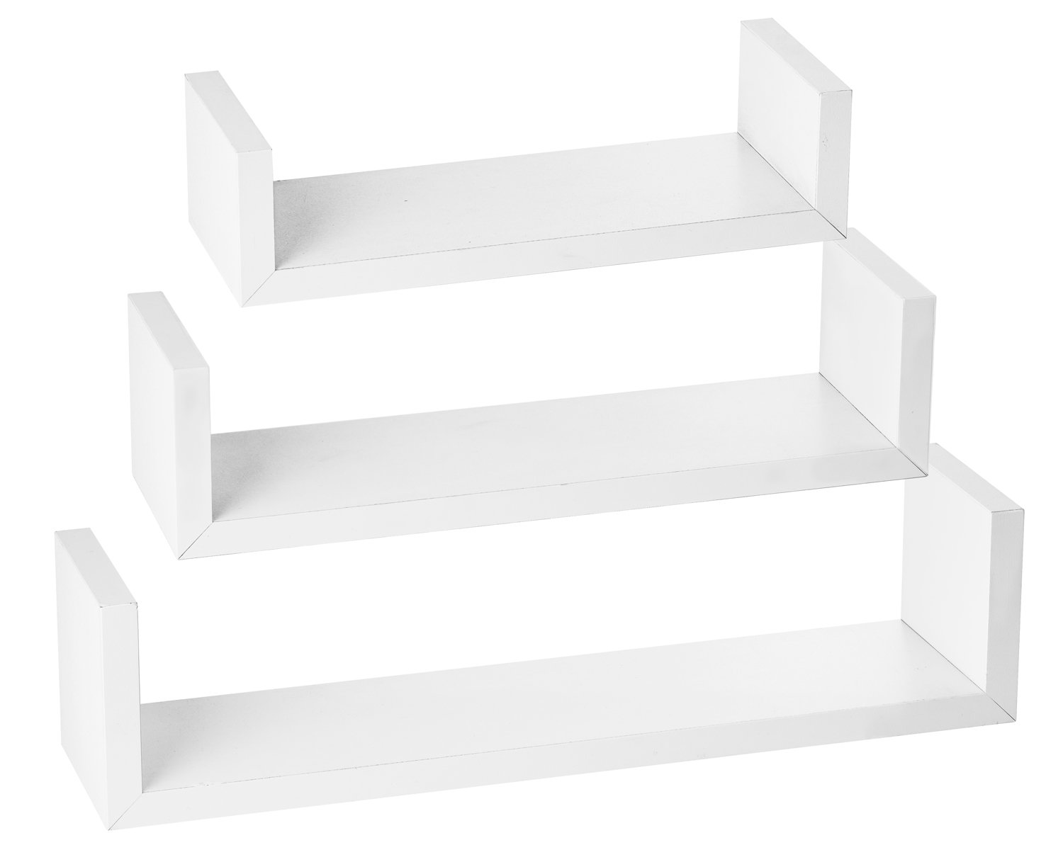 Floating u shelves set of 3 wall shelf display modern Modern floating wall shelves