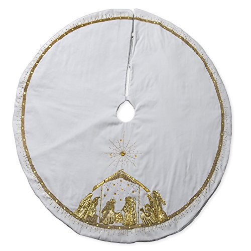 56 inch White Velvet and Gold Tone Embroidered Nativity Scene Plush Christmas Tree ()