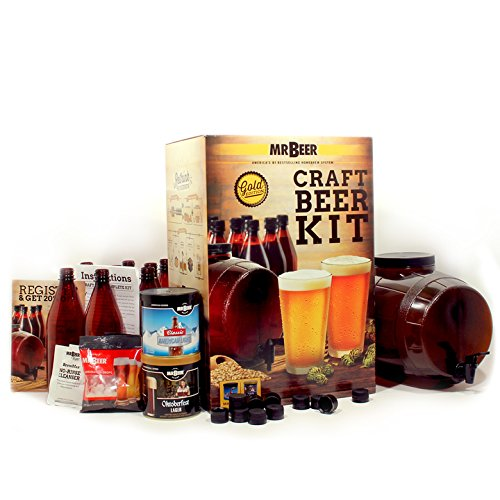 Mr. Beer Premium Gold Edition 2 Gallon Homebrewing Craft Beer Making Kit with Two Beer Refills, Convenient 2 Gallon Fermenter, Bottles, Caps, Carbonation Drops, Sanitizer and Brewing Instructions Brewery Bottle