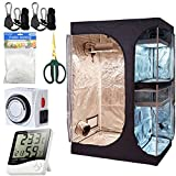 "PrimeGarden 48""x36""x72"" 2-in-1 Hydroponic Indoor Grow Tent Room Propagation 600D Mylar Hydroponic Water-Resistant Grow Tent +24 hour Dual Outlet Timer +60mm Bonsai Straight Scissor + Digital Hygrometer Indoor Thermometer Humidity Monitor+ Trellis nets +1 Pair Rope Ratchet Hanger for Indoor Plant Growing Perfect for 4 Plants (48''x36''x72'' Grow Tent Kit)"