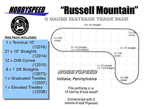 LIONEL FASTRACK Russell Mountain Track Layout 12' X 8' O Gauge Trestle line