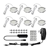 Cabinet Lighting SHINE HAI LED Under Cabinet Lighting Kit, 1140 Lumens LED Puck Light, 5000K Daylight White, All Accessories Included, Kitchen, Closet Lights, Set of 6