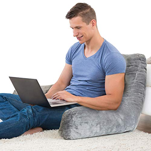 Pillow for All Ages Machine Washable Velvet Cover Soft, Breathable, for Sitting, Reading, TV, Laptop Use Shredded Foam Backrest Pillow with Arms - Grey ()