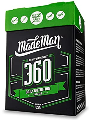Complete Daily Nutrition Packs for Men - Made Man 360 - Men's Vitamin Pack, Minerals, Omega-3s, Probiotics, Antioxidants and Green Food - 30 Day Supply - High Potency and Bioavailability