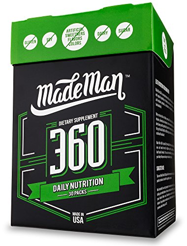 Made Man 360 Complete Daily Nutrition Packs for Men with Vitamins, Minerals, Omega-3s and Probiotics (30-day Supply, 30 - Pack Vitamin