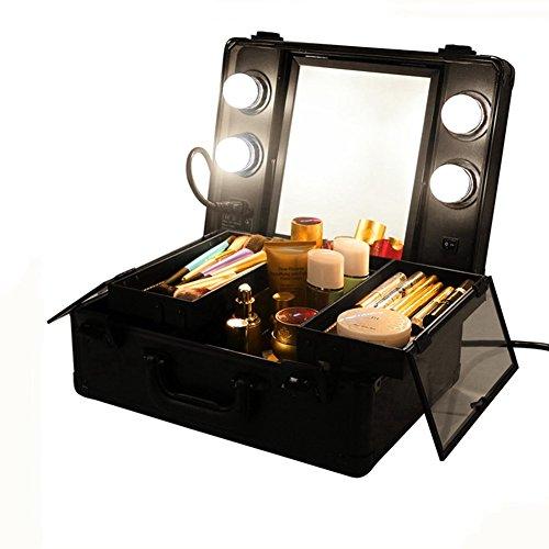 Unho Mini Led Light Makeup Suitcase Travel Cosmetic Storage Beauty