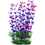 Jardin Aquarium Plastic Manmade Plant for Fish Tank, 14.2-Inch Height, Purple/Green